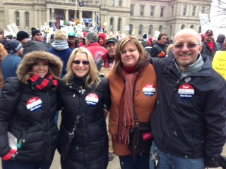 Teachers from around the district went to voice their opinons at the state capital before the bill was passed. Teachers were only part of the huge protest that happened right on the capital steps. Photo provided by Tim Allen